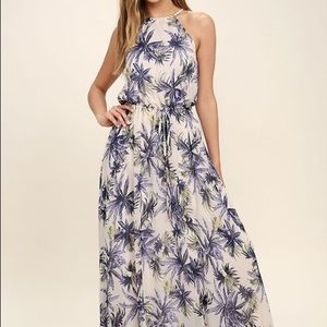 NWT Lulus Blush and Purple Floral Maxi